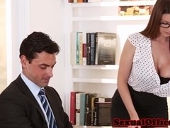Bigtitted Brooklyn Chase drilled in office