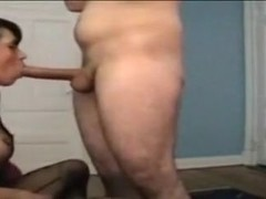 Busty tranny slut is sucking my juicy cock like there's no cam