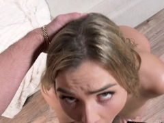 Blonde girlfriend got face fucked by huge dick