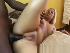 Curvaceous blonde hottie invites a dark stud to stretch all her holes