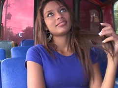 Liz Paola has some fun on the bus
