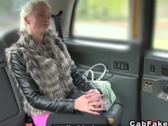 Busty Finnish blonde bangs in taxi hardcore sucking