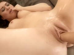 Exotic chick with splendid tits and ass takes a fist in her sweet cunt