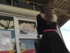 Upskirt video with young angel in the black dress