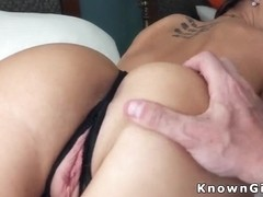 Amateur fucks in crotchless panties
