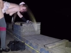 LN´s#37 Petite cutie in short skirt, BJ & quickie  lake bridge  night