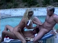 Buxom blonde lady Stephanie DuValle gets fucked in both holes outside