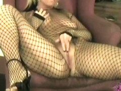 Mature Blonde In A Fishnet Body Stocking Swallowing