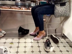 gf tries new high heels soft feets shoe shopping