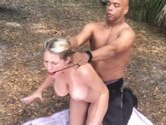 Sexy blonde milf Mia fuck at the pond side with bbc master