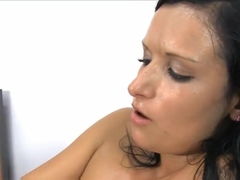 Tight Raven Haired Teen Cumming All Over A Brutal Dildo