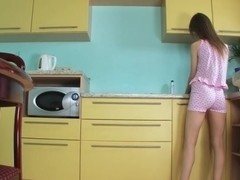 Pussy finger and dildoing in kitchen