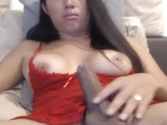 Busty Ladyboy Stroking Cock in Nice Webcam View