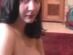 Busty girl plays with hard cock in backstage