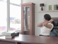 Charming secretary Sharon Lee takes handsome window washer