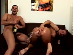 Pretty buxomy experienced lady having fun at amazing group sex party