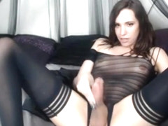 Crazy Homemade Shemale video with Brunette, Masturbation scenes