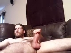 Sweet boyfriend is jerking at home and shooting himself on webcam