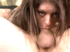 Brunette Dirtbag Brook Ultra With Mouth Stuffed Full of Cock
