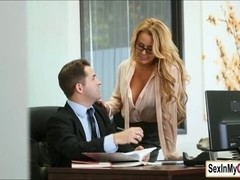 Busty Corinna Blake gets a pearl necklace from her boss