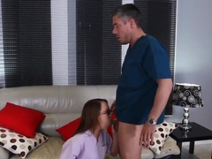 Diligent Student Haley Sweet Slurps On Mick Blue's Hard Pecker