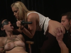 Blindfolded Submissive Gets Her Pussy Dildoed