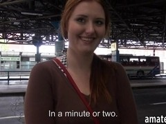 Amateur busty Eurobabe fucked in bus station for cash