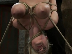 19yr old blond with huge 'F' size breastsis made to cum over & over. Suffers horrific bondage!