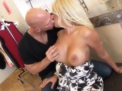 Wonderful busty blonde bitch demonstrates her professional skills