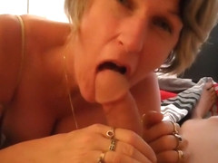 Busty Blonde Is Handling A Cock