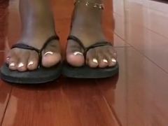 Indiangyal French pedicure feet wearing flip flops