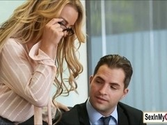 Busty ###ary Corinna Blake gives her boss and blowjob