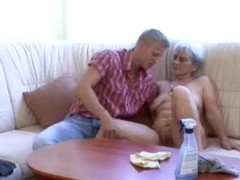 Granny gets all of her horny holes fucked and fondled