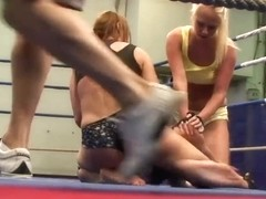 Andy Brown, Carla Cox and Nikky Thorne fighting with no rules