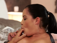 DADDY4K. Hot brunette revenges on boyfriend by seducing his bald dad