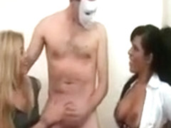 Clothed Women Shave Dick Of Man And Start Painting His Body