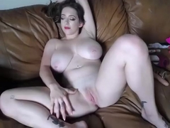 Blond cam girl with amazing body and tits masturbating