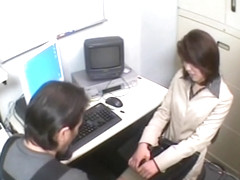 Hot babe blows dick in kinky spy cam office sex video