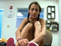 Cute tanned Amia Miley fingers her shaved snatch in office