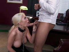 Blonde Alexis Ford wearing a collar and and sucking Keiran's Lee cock