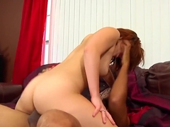 Enticing young redhead Cici Sweet has a black man drilling her peach