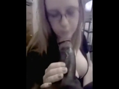 Glasses Gobbles Black Cock That Is Huge