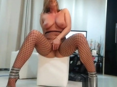 Naughty Fishnet-Stockings Amateur Plays With Her Tight Pussy