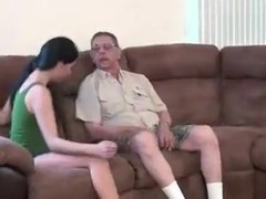 junior chick first time fucking with old man