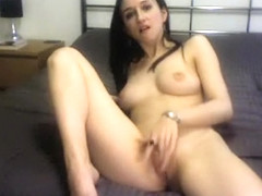Raven Haired Slut With A Firm Ass Eating Cum