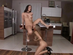 Lesbians Leyla Black,  Madlin fuck in the kitchen