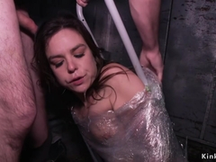 Wrapped in plastic fucked in elevator