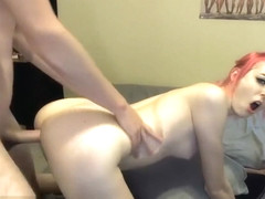 Teen With Red Dyed Hair Fucks