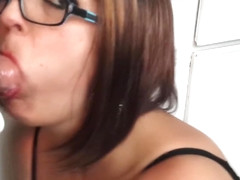 MILF sloppy blowjob and facial then eats cum with spoon