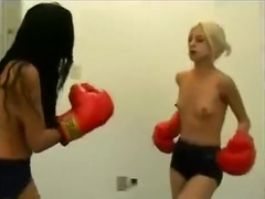 Adrielle vs Sayuri topless belly boxing